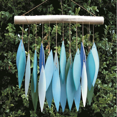 Glass Wind Chime  'Leaves' - Turquoise