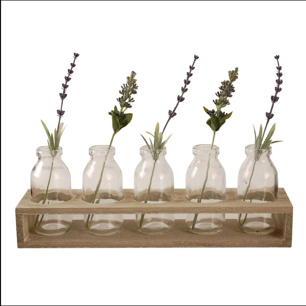 Tray with five glass bottles and Flower Bouquets