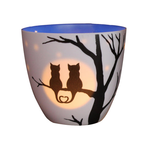 Porcelain Tea-light Holder - Love Cats - Two Sizes Available