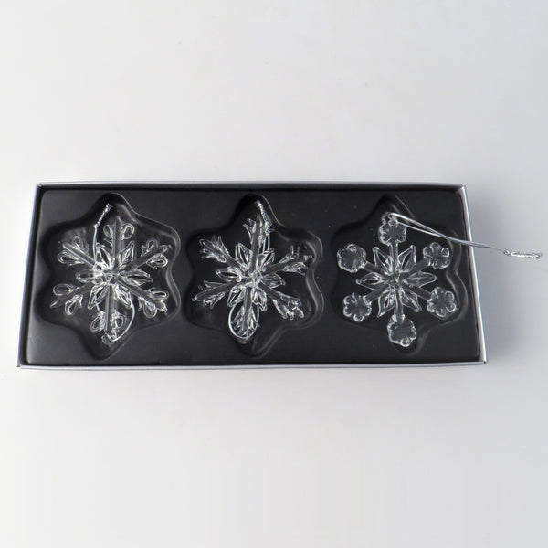 Set of Three Glass Snowflake Tree Decorations
