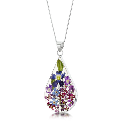 Purple Haze Real Flower Necklace - Large Teardrop