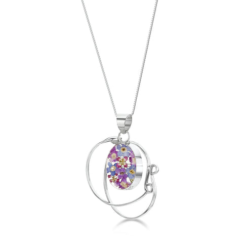 Purple Haze Real Flower Necklace - Swirl
