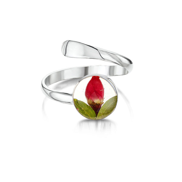 Miniature Rose Real Flower Adjustable Ring