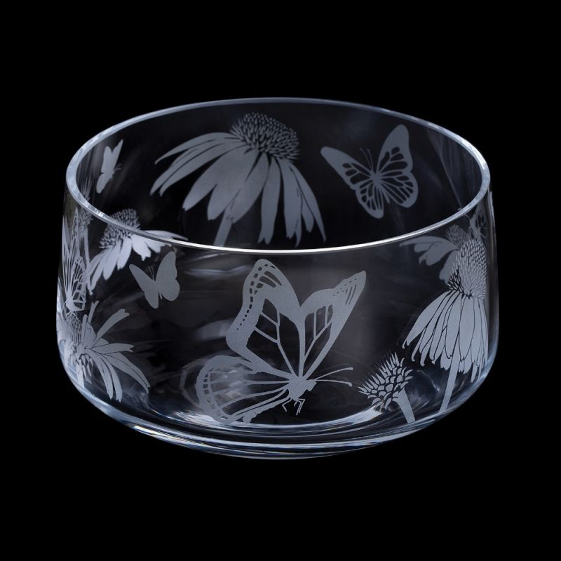 Etched Glass Bowl -  Butterflies