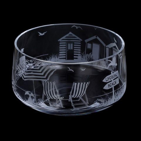Etched Glass Bowl -  Seaside Scene