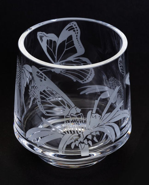 Etched Glass Votive -  Butterflies