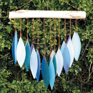 Glass Wind Chime 'Falling Leaves' - Bluish