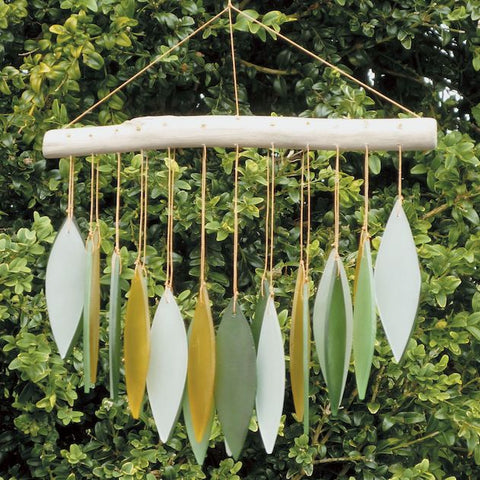 Glass Wind Chime 'Falling Leaves' - Green