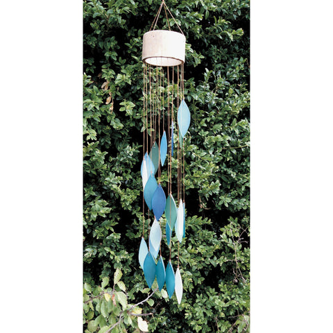 Glass Wind Chime Spiral - Turquoise
