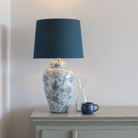 Ceramic Lamp with Exotic Bird and Blue Shade
