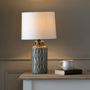 Ceramic Lamp with Indochine Noir Design and Ivory Shade