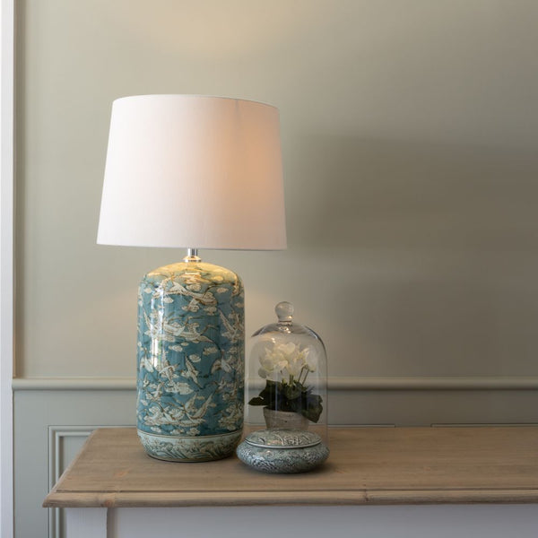 Ceramic Lamp with Flying Birds Design & White Shade