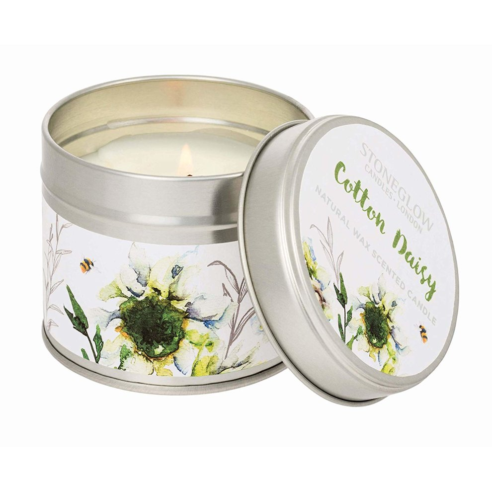 Stoneglow Botanics Candle in a Tin - Cotton Daisy