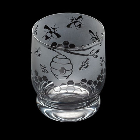 Etched Glass Tumbler  -  Bees