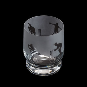 Etched Glass Tumbler  -  Cricket