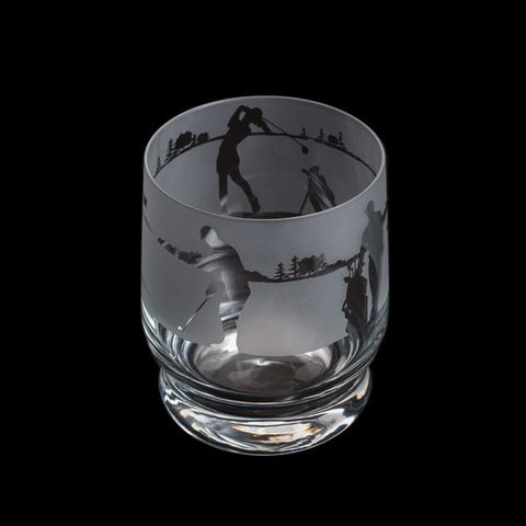 Etched Glass Tumbler  -  Golf