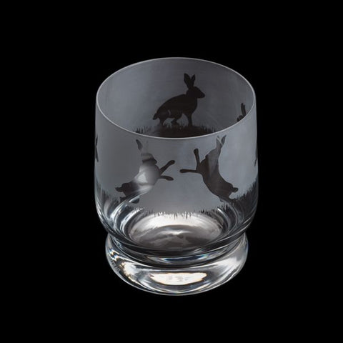 Etched Glass Tumbler  -  Hare