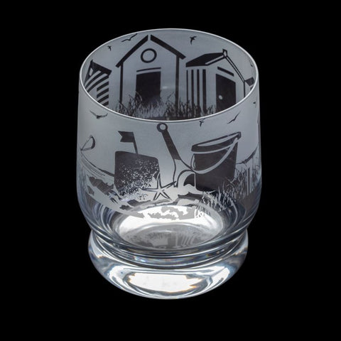Etched Glass Tumbler  -  Seaside Scene