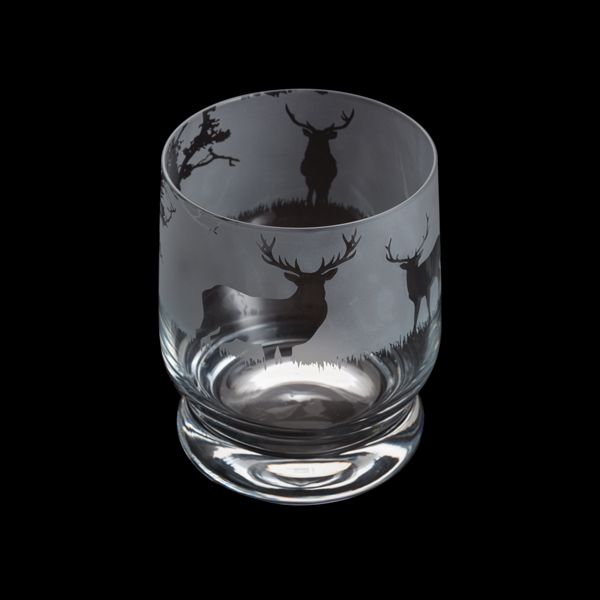 Etched Glass Tumbler  -  Stag