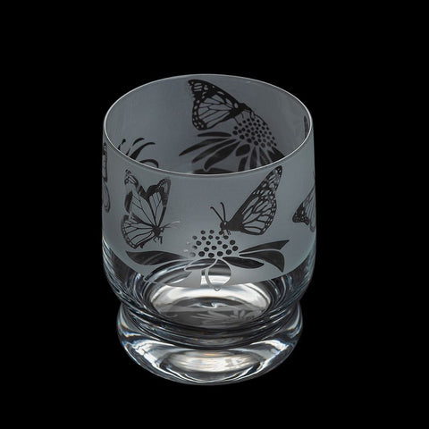 Etched Glass Tumbler  -  Butterflies