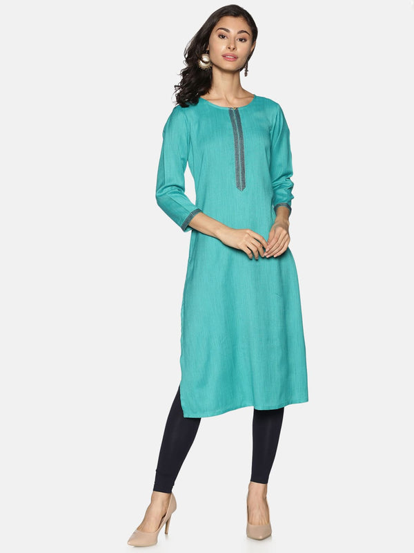 Turquoise Blue Straight kurta with Embroidery Placket