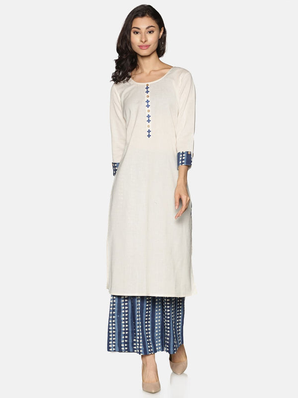 Off White Embroidered Placket Kurta