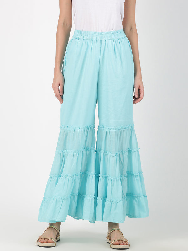 Turquoise Cotton Mal Tiered Palazzo