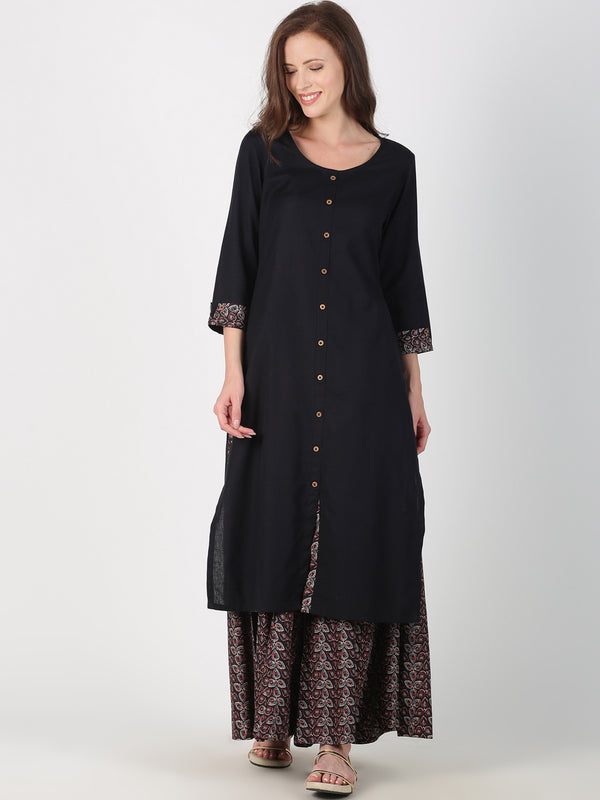 Black Cotton Kurta With Contrast Trim