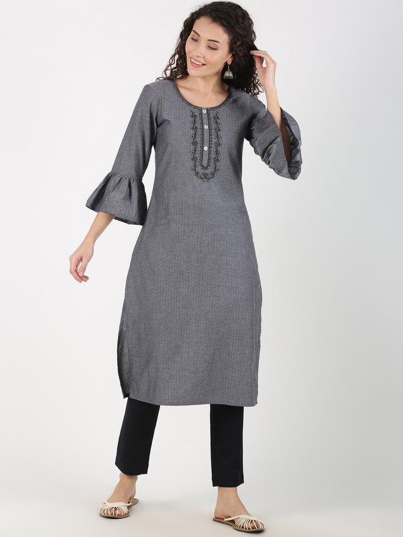 Grey Frill Sleeves Embroidered Neck Kurta