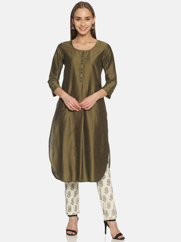 OLIVE SLUB EMBRIODERED PLACKET KURTA