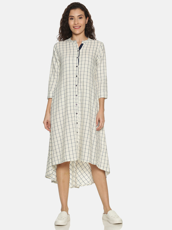 High Low Hem White Checks Kurta