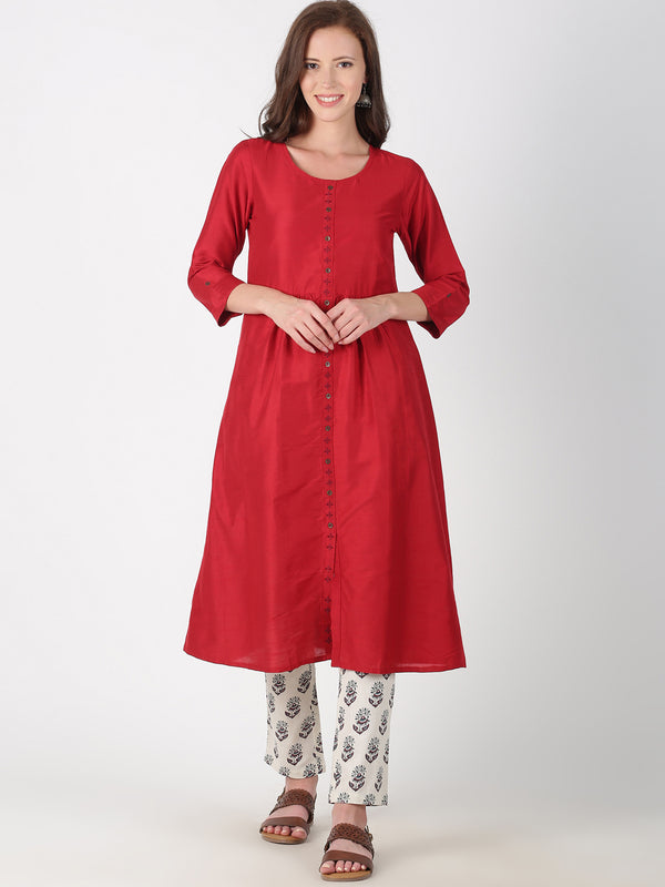 Maroon Kurta With Placket Embroidery And 3/4 Sleeves