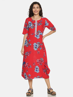 Red Printed This Or That Kurta With Embroidered Placket