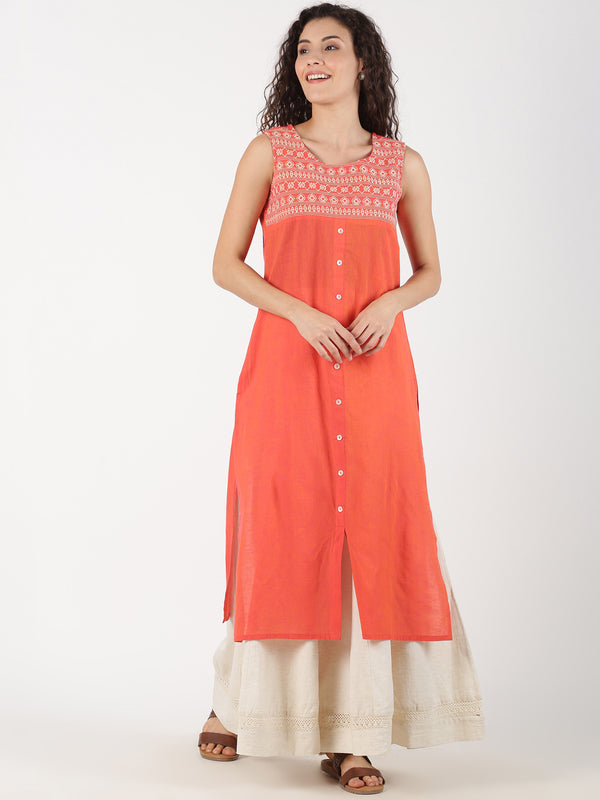 Coral Cotton Kurta With Heavy Neck Embroidery