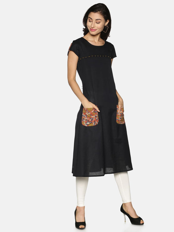 Black Flax With Front Pocket A-Line Kurta