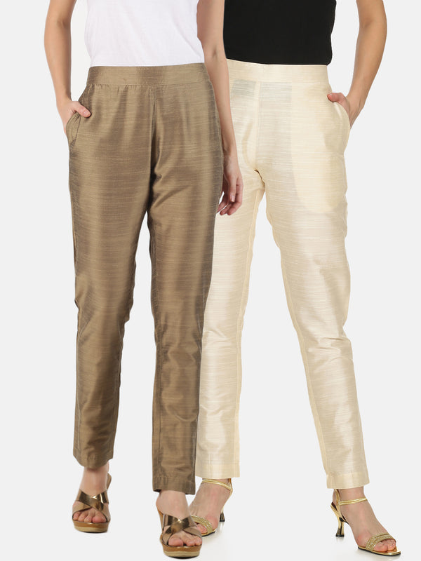 Pack of 2 Trousers Gold and Off-White Slub
