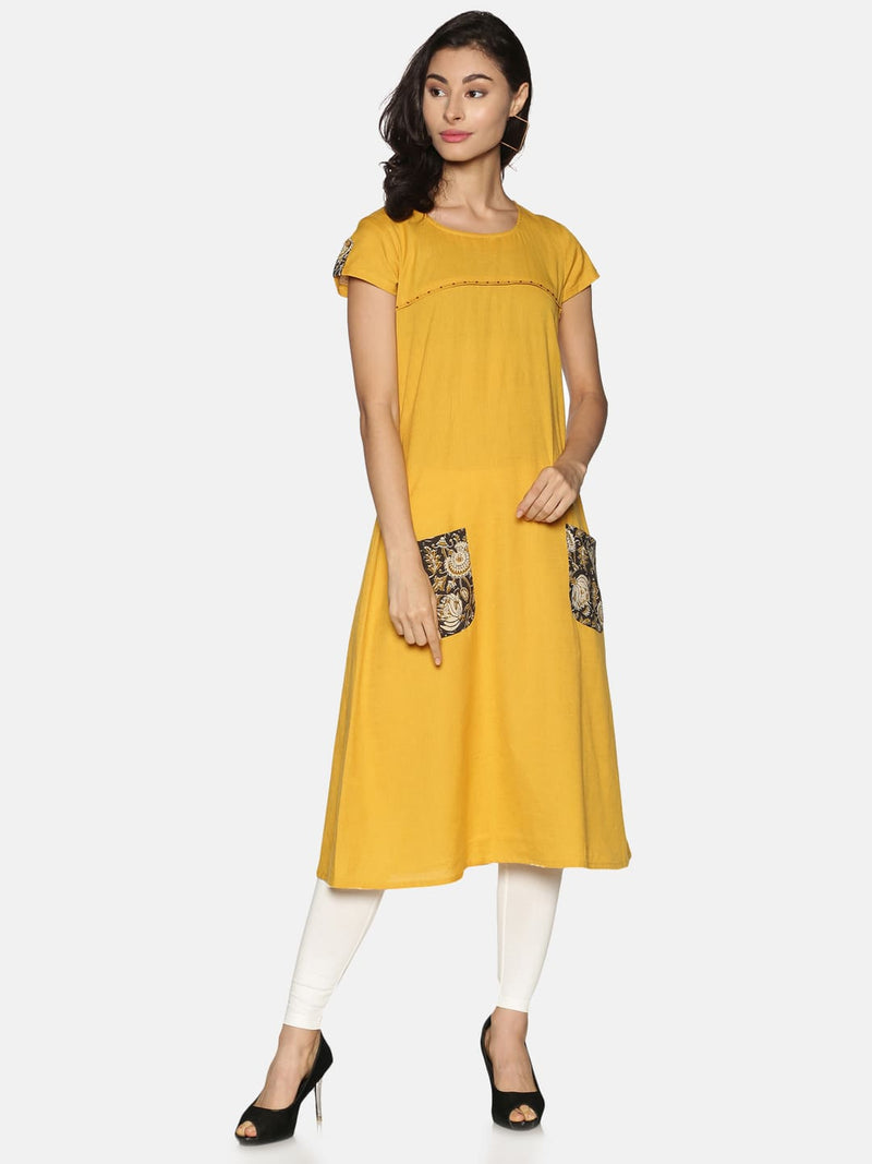 Mustard Flax With Front Pocket A-Line Kurta