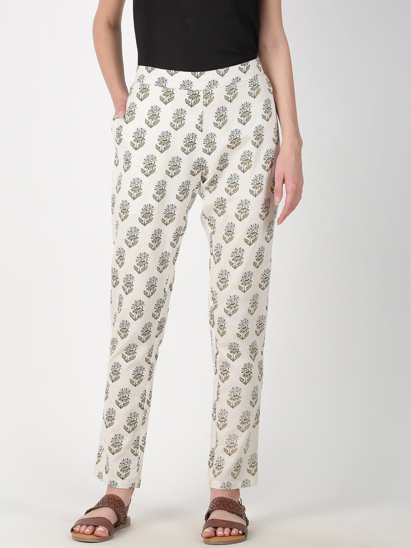 Mustard Three Colour Printed Straight Pant