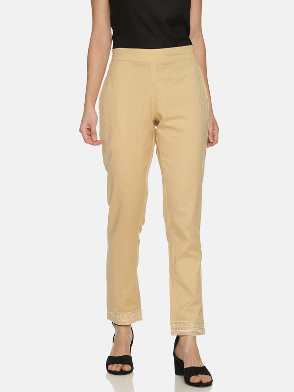 Embroidered Beige Straight Cotton Flex Pants