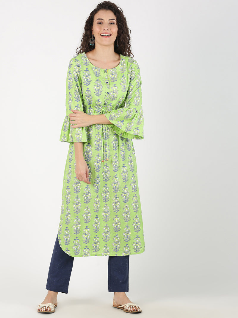 All Over Print Light Green Kurta With Flared Sleeve