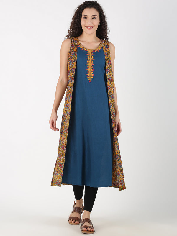 Embroidered Kurta With Mustard Kalamkari Mock Jacket
