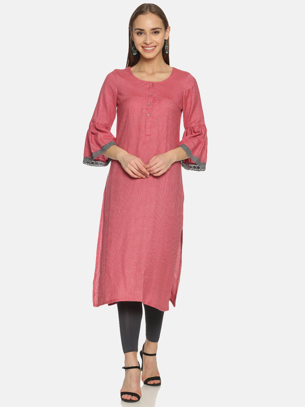 Red Checks Cotton Kurta