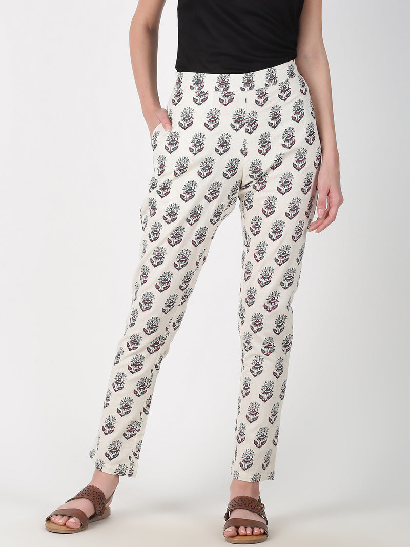 Maroon Three Colour Printed Straight Pant
