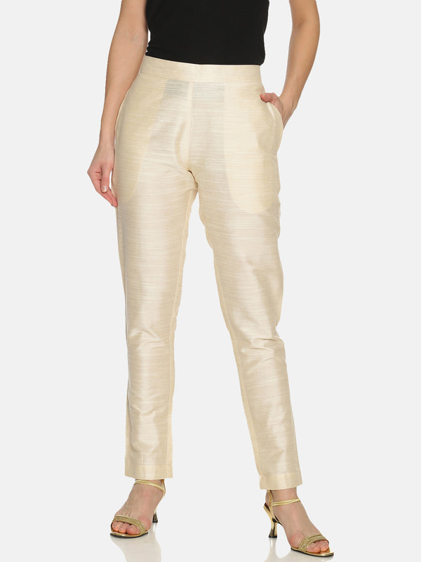 Off White Rayon Slub Trouser