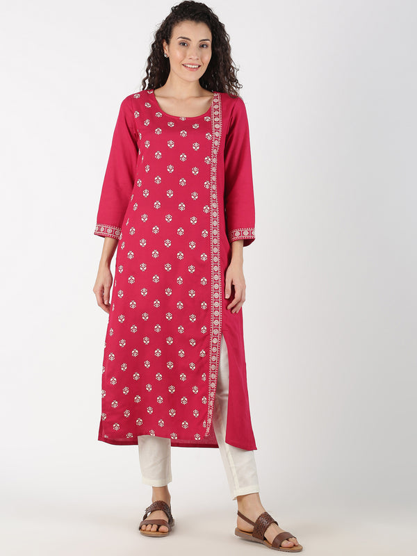 Pink Buti Print & Embroidered Patti Kurta