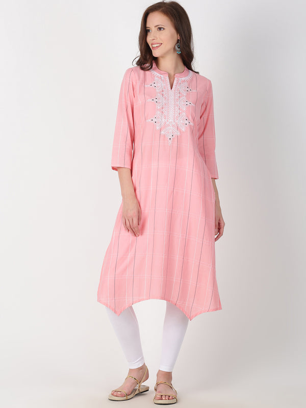 Pink Cotton Kurta With Neck Embroidery