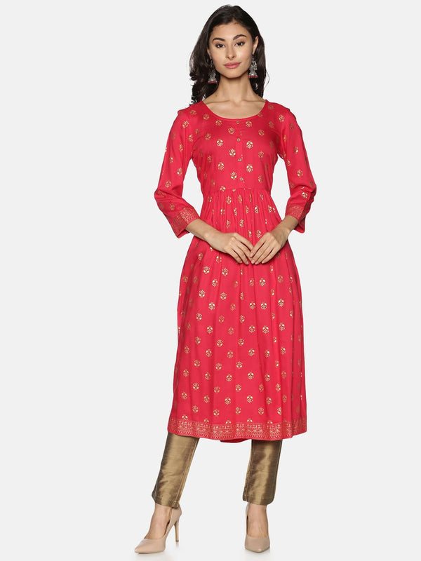 Pink Rayon Gold All Over Print & Border Kurta