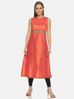 Coral Kurta With Embroidery