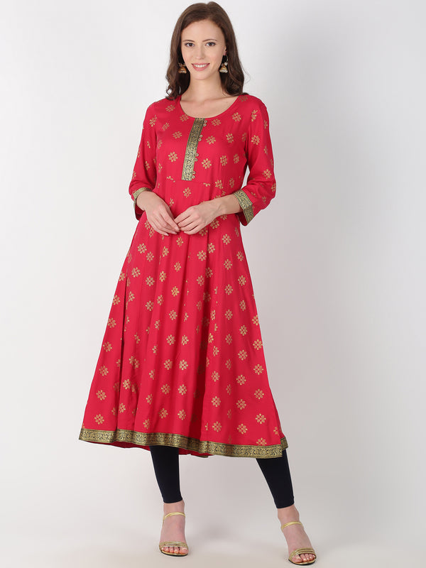 Red Rayon Gold All Over Print Kurta