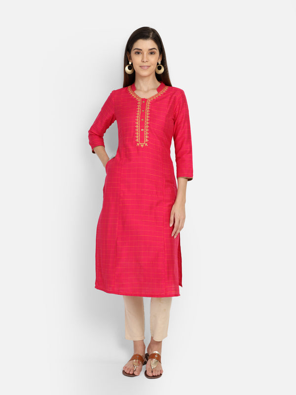 Pink Slub Checks Embriodered Neck Kurta
